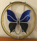 10 Round Handmade High Quality Stained Glass Suncatcher Panel Butterfly Nice