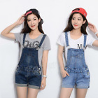 Womens Vintage Chic Denim Suspenders BIB OVERALLS Romper Jean Shorts Pants Hot