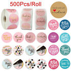 500Pcs Roll Handmade Thank You Stickers Wedding Birthday Party Flowers Labels