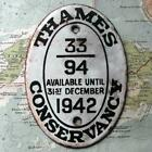 1942 Vintage Car Boat Mascot Badge Oval : Thames Conservancy Pleasure Vessel zz