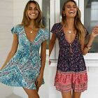 Ladies Vintage Boho V-Neck Mini Dress Short Sleeve Summer Holiday Beach Sundress