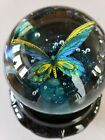 Vintage BELLO da GLASS Art Glass Bohemia PAPERWEIGHT Butterfly Bubbles Large