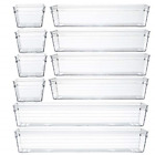 Backerysupply Clear Plastic Drawer Organizer Tray for Vanity Cabinet Set of