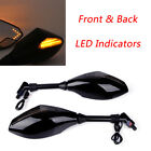 ADV Adventure Motorcycle Mirrors Black w/ LED Turn Signals Universal 10mm Screw