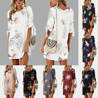 Womens Floral Long Tops Blouse Ladies Summer Beach Shirt Dress Tunic Plus Size