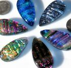 6 Dichroic Montana Art Glass Tear Cabochons CAB TILE PENDANT Mosaic MULTICOLORED