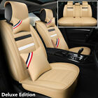 Beige Deluxe Edition Car Seat Cover PU Leather Full Set Protector With Pillows
