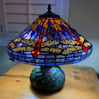 Tiffany Style Stained Glass Reading Accent Table Lamp Dragonfly Theme NEW