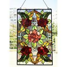 Stained Glass Window Panel Suncatcher with Floral Rose Theme Tiffany Style
