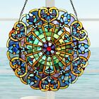 Window Panel Suncatcher Blue Stained Glass Tiffany Style 22in Diameter