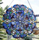Victorian Design Blue 20in Tiffany Style Stained Glass Window Panel Suncatcher