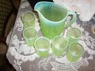 Fenton line green Hobnail Pitcher and 6 glasses vaseline Opalescent 850 tall