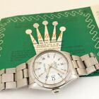 Rolex Date 34 mm Steel Automatic Oyster White Watch 1501 Service Papers 1975