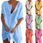 Plus Size Women Short Sleeve Solid Long Tops Blouse Loose Tunic Kaftan T Shirt