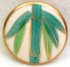 Vintage Satsuma Button Hand Painted Bamboo with Gold Design 1  1 8
