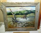 Vintage Painting By Jeanie Southworth Native American Scene