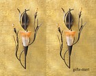 2 peach lilly FLOWER modern metal Art Deco Candle Holder Wall Sconce 1 Pair
