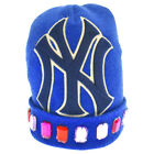 GUCCI 18AW New York Yankees NY Patch Bijoux Decorative Knit Cap Beanie Blue