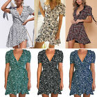 Women Floral Ruffle Mini Wrap Dress Vintage Boho Summer Holiday Casual Sundress