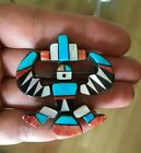 Vintage Native American Turquoise Inlay Pin Brooch signed Purcy Good vintage