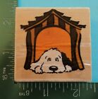 PUPPY DOG IN A DOG HOUSE Rubber Stamp