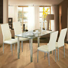 5 Pieces Dining Table Set w 4 Chairs Glass Metal Kitchen Dining Room Furniture