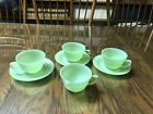 Fire King Jade Ray Jadieite 4 Cups and 3 Saucers Green Ribbed Tea Coffee Punch