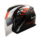 1Storm DOT Motorcycle Open Face Helmet Scooter Classical Dual Lens Racing Red