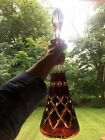 VTG BOHEMIAN GLASS RED RUBY CUT TO CLEAR ETCHED LARGE DECANTER 12 R