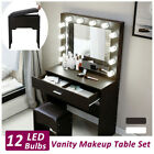 Vanity Set with 12 LED Lighted Mirror Makeup Dressing Table Dresser Desk W Stool