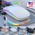 Slim Wireless Mouse Silent USB Mice 24GHz Rechargeable RGB For PC Laptop USA H8