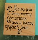 WISHING YOU A VERY MERRY CHRISTMAS NEW YEAR Saying Rubber Stamp STAMPABILITIES