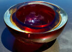 Vintage Deep Red and Gold Murano Sommerso Cased Art Glass Geode Bowl 1960s