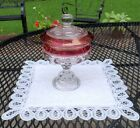 Rare Vintage Original 1950's Red Indiana Thumbprint, Kings Crown Compote,  EX