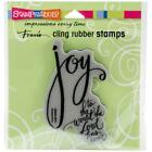 New Stampendous RUBBER STAMP cling JOY HAS COME religious Christmas