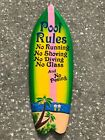 COLORFUL 39 POOL RULES TROPICAL SIGN WALL HANGING ART ISLAND HOME DECOR