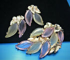 STUNNING SIGNED SCHIAPARELLI GOLD PLATED PASTEL FROSTED GLASS LEAVES BROOCH SET