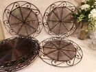 9 METAL TABLE TOP CHARGER PLATES 13 Brown Scroll open weave rim FREE SHIPPING