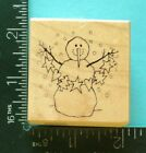 PSX SNOWMAN HOLDING GARLAND Christmas Rubber Stamp E 1809 Snow Star Tree Heart