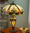 Double Lit Victorian Theme Stained Glass Tiffany Style Accent Table Lamp