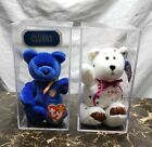 Ty Beanie Bears Pair Clubby And Celebration In Display Cases With Tags