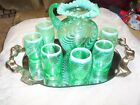 FENTON LG WRIGHT GREEN PITCHER SET OPTIC SWIRL WITH GLOW UNDER BLACK LIGHT