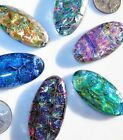 6 Dichroic Montana Art Glass OVAL Cabochons CAB TILE PENDANT Mosaic MULTICOLORED