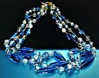 VINTAGE BEAUTIFUL ART DECO BLUE  CLEAR GLASS BEADS 3 STRAND CHOKER NECKLACE