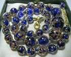 Cobalt Blue Venetian Murano Glass Gold Bead Graduated Vintage Style NECKLACE