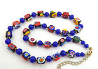 VTG Art Deco Necklace Venetian Square Millefiori Glass Beads Colorful Knotted