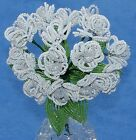 Vintage French Glass Beaded White Opaline Double Violet 15 Flower Bouquet