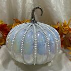 Nicole Miller Iridescent Glass Pumpkin Caged Faux Pearl Luxury Decor NWT Beauty