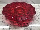 LE Smith Amberina Moon and Stars Glass Vintage Cake Platter Footed Stand Compote
