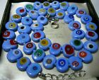 Blue Millefiori Venetian Murano Glass Disk Bead Vintage Style NECKLACE New Gift